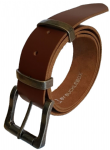 "38mm Bucklebox Brown Leather Belt with Detachable Nickel Free Roller Buckle 1½"" wide"